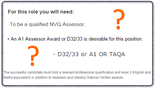 A1 TAQA D32 D322 Assessor Qualification