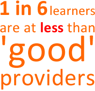 1 in 6 learners are at less than good providers