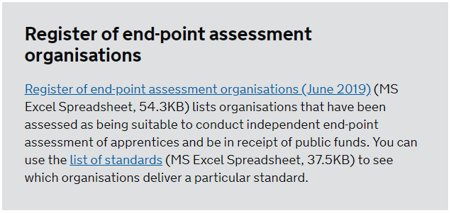 screenshot text about register end point assessment organisations