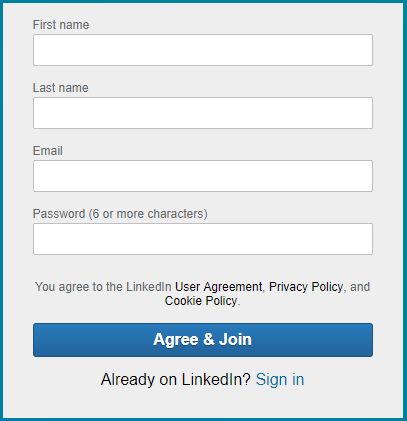 Sign up screen -